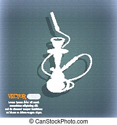 Hookah icon. On the blue-green abstract background with shadow and space for your text. Vector