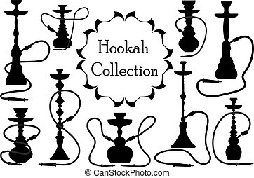 Hookah icon set black silhouette, outline style. Arabic hookahs collection of design elements, logo. Isolated on white background. Lounge bar logos concept. Vector illustration.