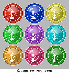 Hookah icon sign. symbol on nine round colourful buttons. Vector