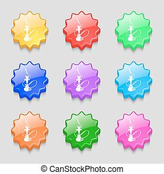 Hookah icon sign. symbol on nine wavy colourful buttons.