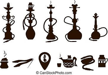 hookah icons black set with accessories isolated vector illustra