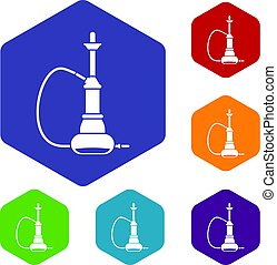 Hookah icons set hexagon