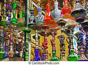 Hookah in souvenir shop at Istanbul Turkey