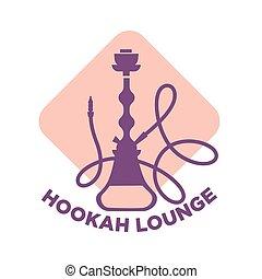 Hookah lounge cafe isolated logotype with shisha...