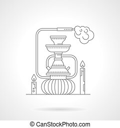 Hookah lounge detailed line vector illustration - Abstract...