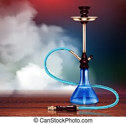 Hookah Realistic Illustration - Blue hookah and smoke with...