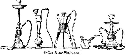 Vector hand drawn sketch of hookah set in ink hand drawn style.