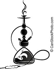 Hookah silhouette relaxation and smoking - Hookah silhouette...