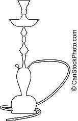 Hookah symbol with line art style. Hand drawn vector illustration.