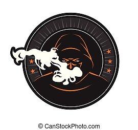 Hookah - Vector illustration of a smoker in dark hood, ...