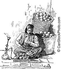 Hookah, vintage engraving - Hookah, shown is a man smoking a...