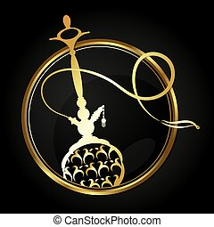 Hookah with a gold ornament in a circle