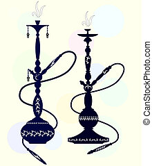 hookah with oriental pattern for the vector