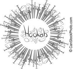 hookahs, vecteur, ensemble, cercle