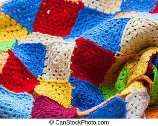 Hooked rug - Multicolored plaid squares of crocheted