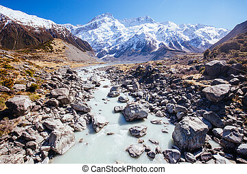 The iconic half day Hooker Valley Track hike at Mt Cook in New Zealand. This is Lake Mueller and Mt Sefton.