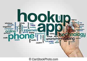 Hookup app word cloud concept on grey background