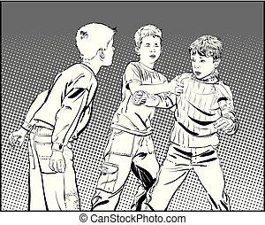 Hooligan boys. Teen Boys In Fist Fight. Fighting boys. Vector illustration isolated on background.