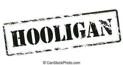 Hooligan - Rubber stamp with word hooligan inside, vector...
