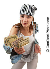 girl with the money on a white background