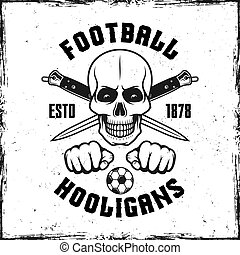 Hooligan skull emblem with two crossed knives