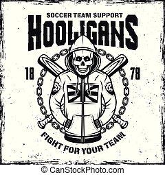 Hooligan skull in hoodie vector emblem