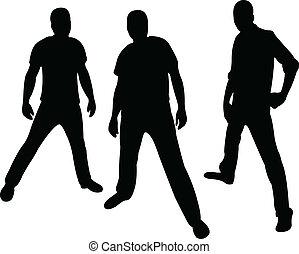hooligans, vector, silhouette