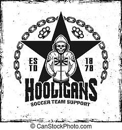 Hooligans vintage emblem with skeleton in hoodie