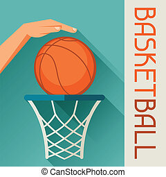hoop., basketbal, grit, illustratie, hand, bal, door,...