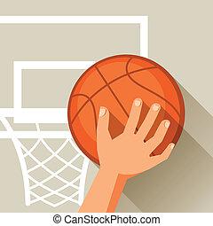 hoop., basquetebol, tiro, ilustração, mão, bola, através, esportes