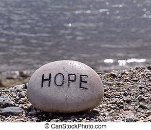 hoop, geschreven, op, een, rots
