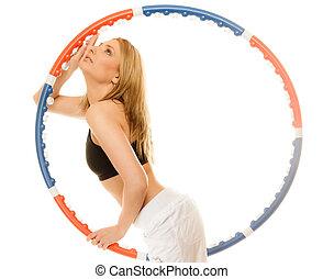 hoop., hula, deportivo, ataque, niña, ejercicio