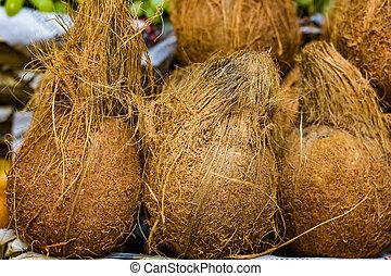 hoop, van, bruine , cocosnoot, partij, in, detailhandel, groente, fantastische markt, te koop