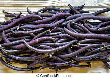 hoop, van, frankrijk, viooltje, bonen, in, detailhandel, groente, fantastische markt, te koop