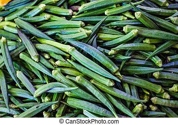 hoop, van, groene, dames, vinger, in, detailhandel, groente, fantastische markt, voor, salec