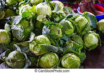 hoop, van, groene kool, in, detailhandel, groente, fantastische markt, te koop