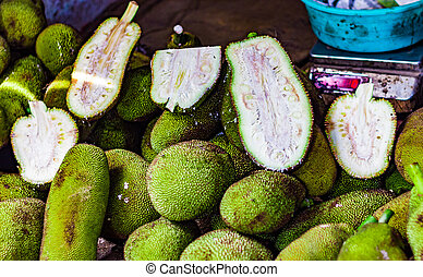 hoop, van, rauwe, en, knippen, kathal, jackfruit, echor, in, detailhandel, groente, fantastische markt, te koop