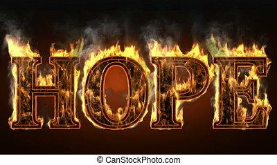 hoop, van, vuur, met, rook
