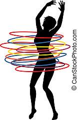 Hoop woman - Editable vector illustration of a sexy woman...