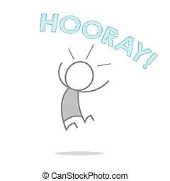 Hooray - A man jumping and shouting hooray.