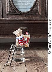 Hooray! - Home Bathing Season - Nostalgic scene teddy bear...