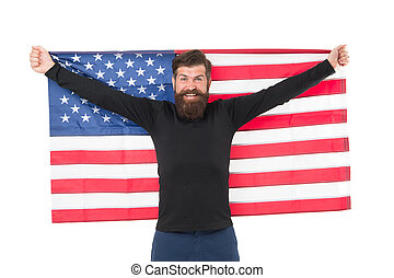 Hooray, its Independence Day. Bearded man holding american...