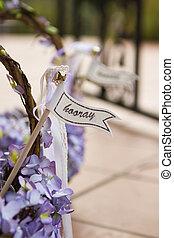 Hooray sign on a wedding basket