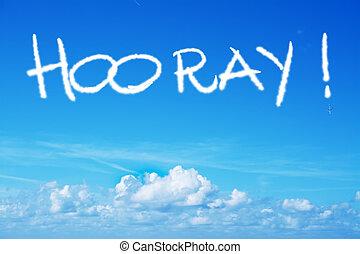 hooray written in the sky with an airplane - horray written...