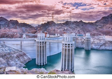Hoover Dam and Colorado river.