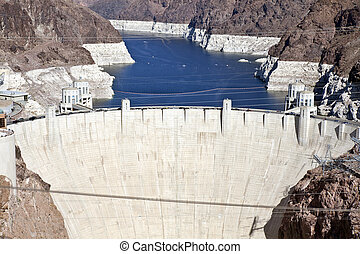 Hoover Dam and Lake Mead viewed from the newly opened bypass...