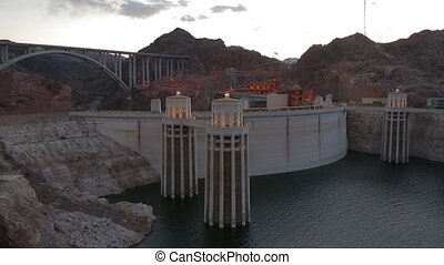 Hoover dam and Lake Mead - Hoover dam close-up shot. Hoover...