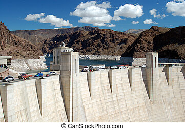 Hoover Dam on Lake Mead, Las Vegas - The Hoover Dam built on...