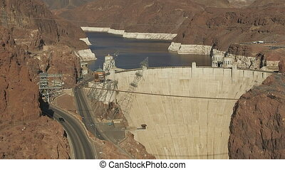 Hoover Dam - Timelapse Mid-aerial view of the Hoover Dam,...