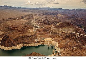 Hoover Dam taken from helicopter near las vegas 2013